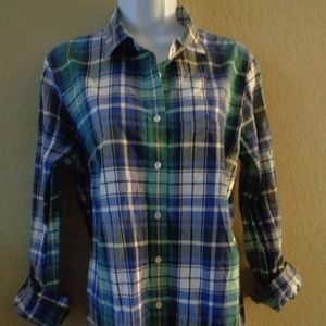 J. Crew The Boy Shirt green blue plaid 12